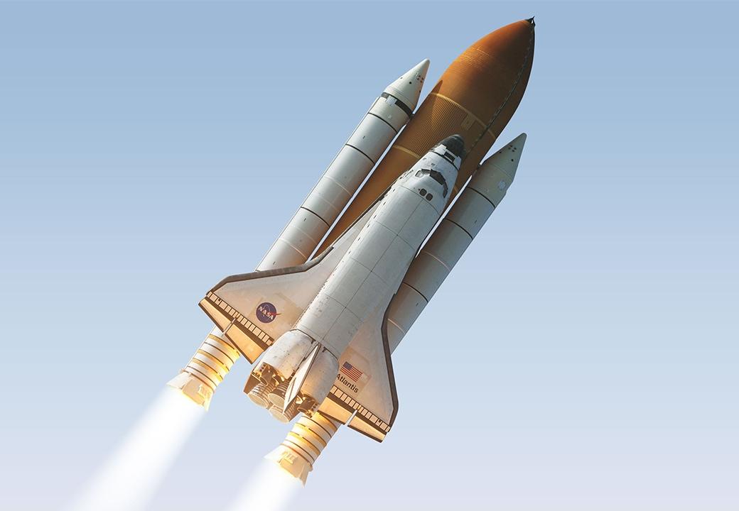 Shuttle taking off
